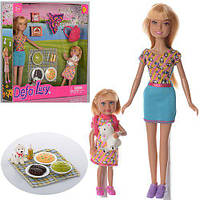 Кукла DEFA 8282 (24шт) 22см, с дочкой 13см, пикник, собачка, рюкзак, возд.змей, в кор-ке,25-25,5-5см