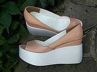 Туфли КОЖА Бежевые  с открытым носком