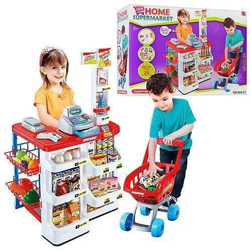 Большой Игровой набор Мой Магазин Супермаркет 668-01-03, прилавок,касса, сканер, продукты, тележка, музыка