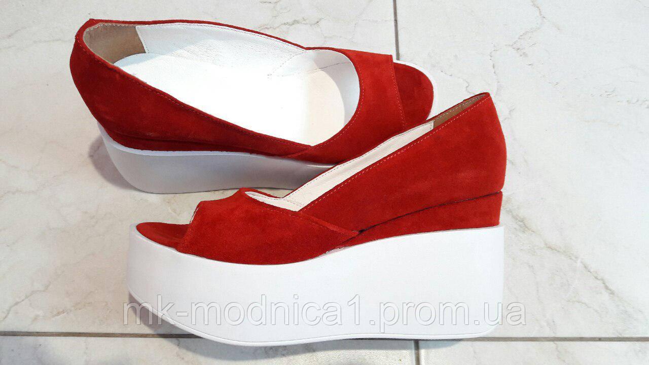 Туфли КОЖА красные   с открытым носком