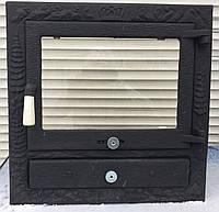 Дверцы для камина печи барбекю 530*530 мм. Печная дверца со стеклом, фото 1