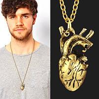 Мужской кулон анатомическое сердце золотистый