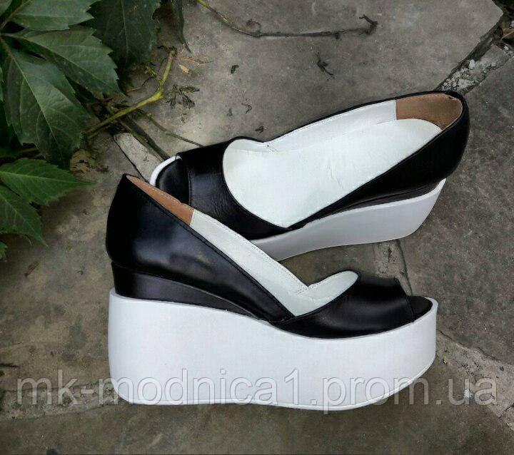 Туфли КОЖА черные   с открытым носком