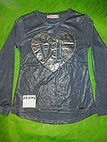 Туника  для девочки-подростка 8-16 лет серого перламутрового цвета сердце оптом