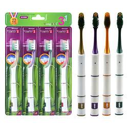 Набір вугільна зубна щітка мягкай щетина південна міжре масаж десеня Корея 3+1шт в уп