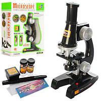 Микроскоп C2119 (36шт) 21см, свет, стекла, пробирки, на бат-ке, в кор-ке, 19-24-8,5см