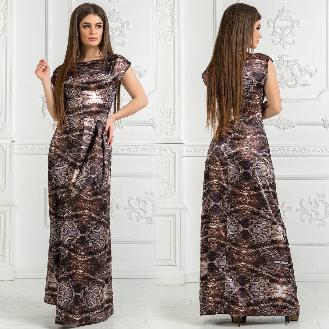 831fc6a2a5b7 Женское длинное платье с королевского атласа - Beatrissa-shop - интернет-магазин  оптом от