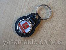 Брелок кожзам округлый Citroen логотип эмблема Ситроен автомобильный на авто ключи комбинированный
