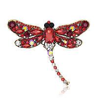 Красная брошь «Яркая стрекоза», фото 1