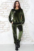 Бархатный костюм Милена зеленый (42-44)