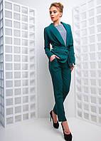 Женский брючный костюм пиджак с поясом и прямые брюки 42-44 р