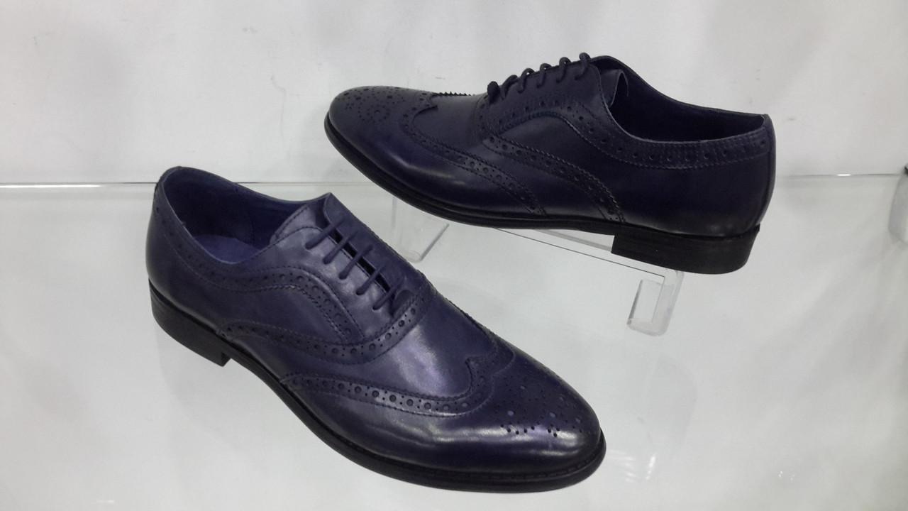 0671c81cf Мужские кожаные туфли-оксфорды на шнуровке, E.Landini, цвет синий, 40-44
