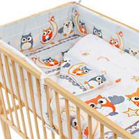 """Набор детской постели  """" Совы на месяце"""" с бортиками из двух частей"""