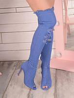 Летние джинсовые сапоги - ботфорты