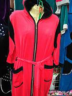 Велюровый халат с капюшоном и поясом р.48-56, цвета разные