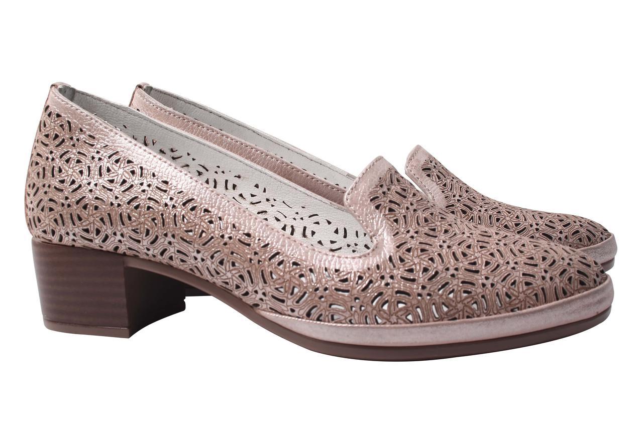 Туфли женские Kesim натуральная кожа, цвет капучино (каблук, перфорация, комфорт, лето, Турция)