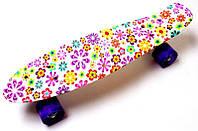 Скейт Пенниборд с рисунком Цветочки. Светящиеся колеса 40 грн.