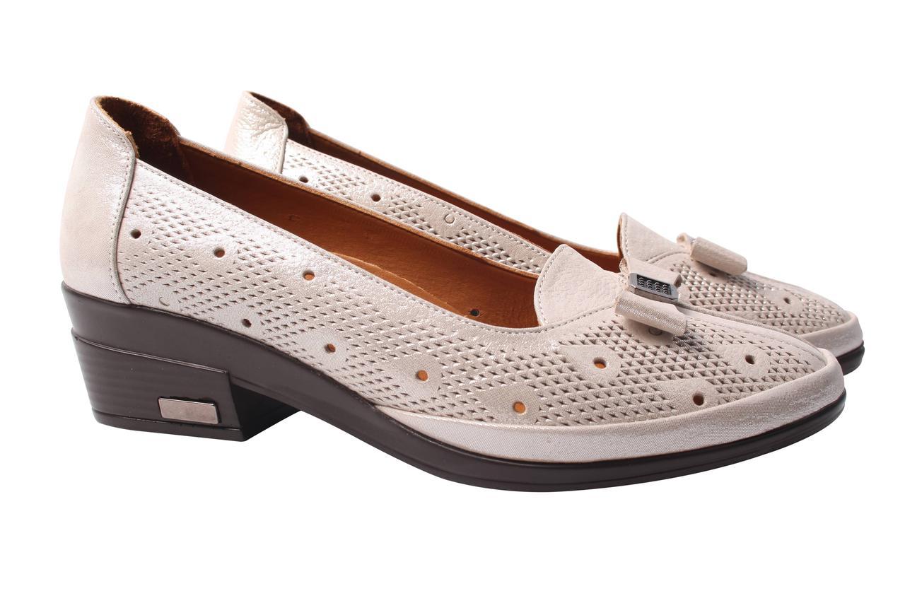 Туфли женские Kesim натуральная кожа, цвет бежевый перламутр (каблук, перфорация, комфорт, лето, Турция)