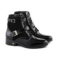 Лаковые зимние ботинки классические с замшей