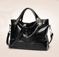 Элегантная женская сумка черного цвета из эко-кожи
