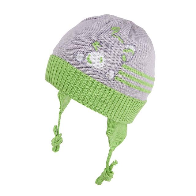 Вязанные демисезонные шапочки на завязках
