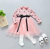 Платье Горох с фатином (роз) 140, фото 1