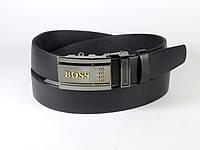 Ремень мужской кожаный HUGO BOSS 3,5 см с пряжкой автомат, брючный ремень из натуральной кожи (реплика)