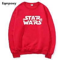 Свитшот Star Wars красный с белым логотипом, унисекс (мужской, женский, детский)