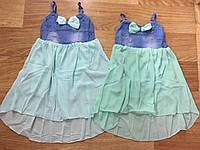 Летнее платье на бретельках для девочек 4-12 лет