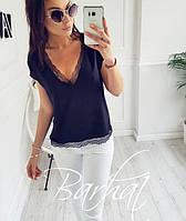 Женская стильная кофта с кружевом на декольте, фото 1