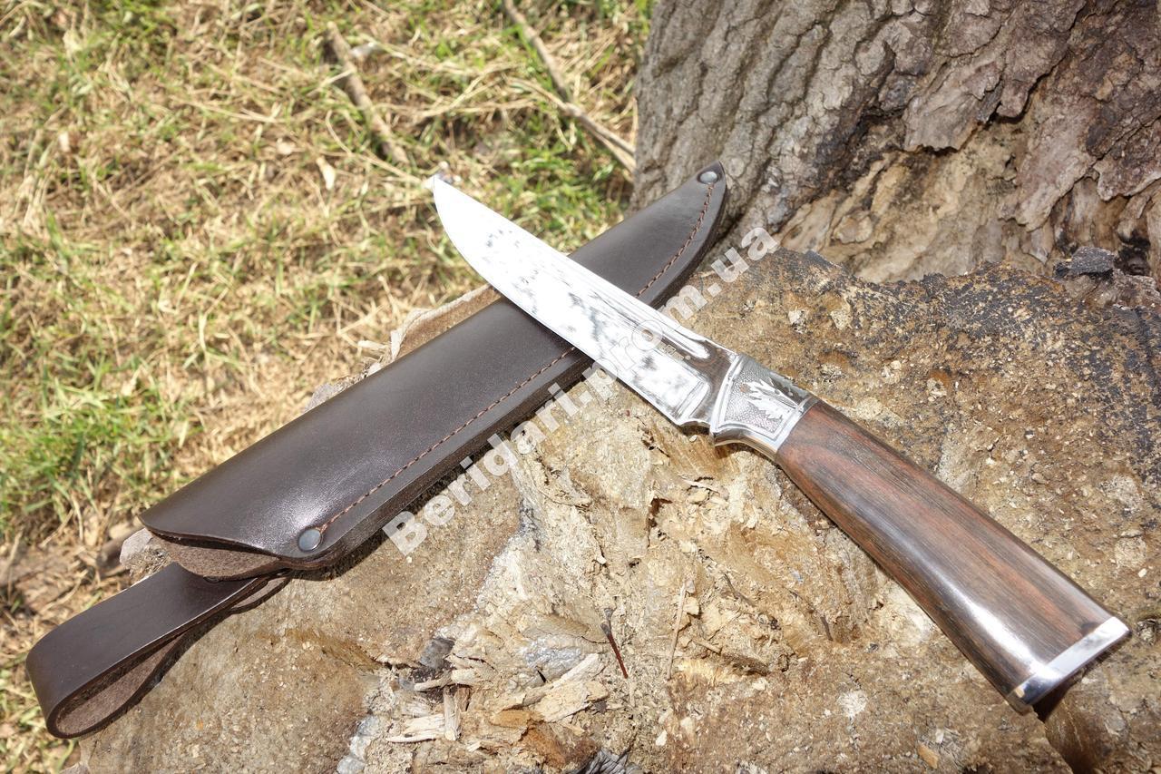 Нож охотничий  кленовый лист  , сталь 440с  +кожаный чехол