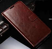 Кожаный чехол-книжка для Samsung Galaxy J1 2016 J120 коричневый