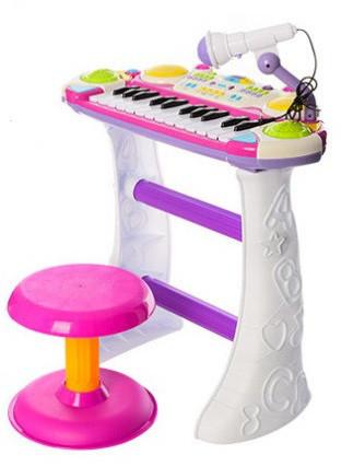 Детский орган пианино со стульчиком и микрофоном Joy Toy  «Я муз
