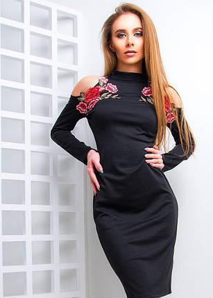 a9af821b982 Трикотажное платье с открытыми плечами и яркой вышивкой 42-44 р ...