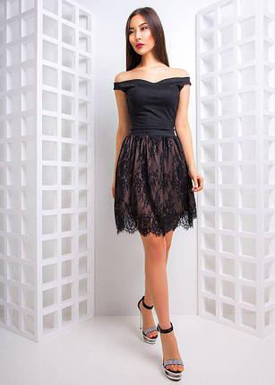 6c3469083a8 Коктейльное платье с открытыми плечами и юбкой из французского кружева  42-44 р