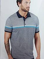 Стильная мужская серая трикотажная рубашка с принтом Мелкий ромб