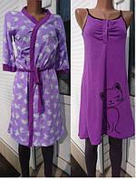 Женская сорочка и халат из полотна кулирдля кормящих и беременных женщин44-54 р Зайцы
