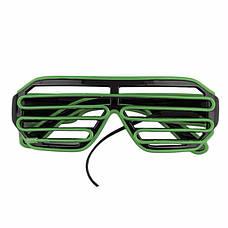 Светодиодные Led El очки светящиеся очки для вечеринок, пати. Зеленые, фото 2