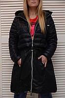Женский черный плащ-пальто на молнии Италия