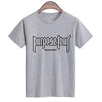 Футболка Purpose The World Tour серая с логотипом мужская, женская, детская