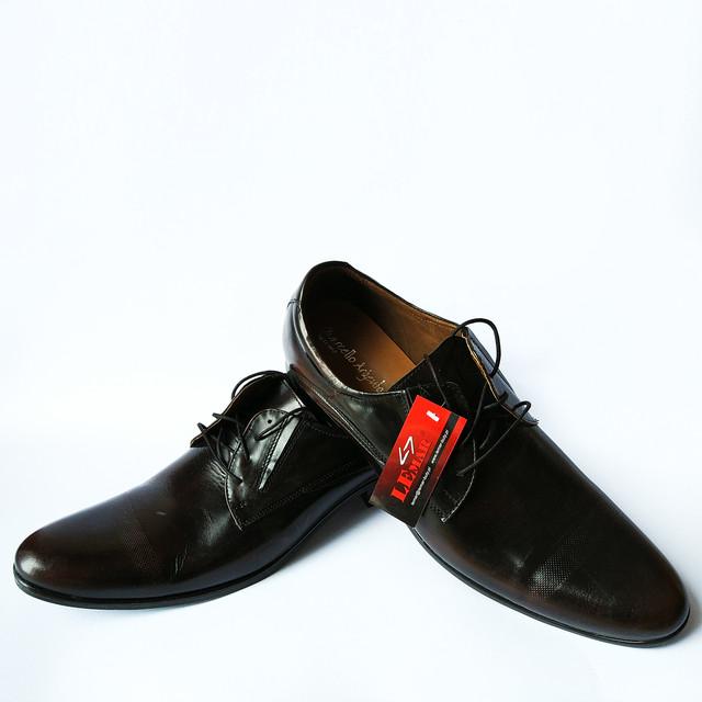Стильная польская обувь фабрики Lemar  классические мужские кожаные туфли на шнуровке