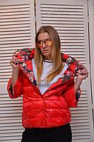 Красная Двухсторонняя куртка на кнопках демисезонная Италия