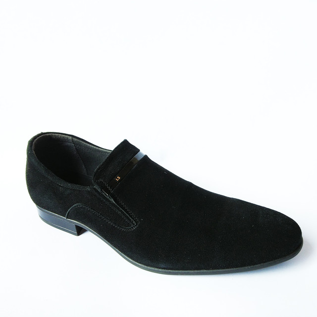 кожаная мужская L-style обувь Львов классические замшевые туфли черного цвета под ложку от украинского производителя