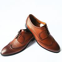 Стильная обувь Икос   мужские кожаные туфли, коричневого цвета,  тонированные с перорацией 41, 7be4a7acde1