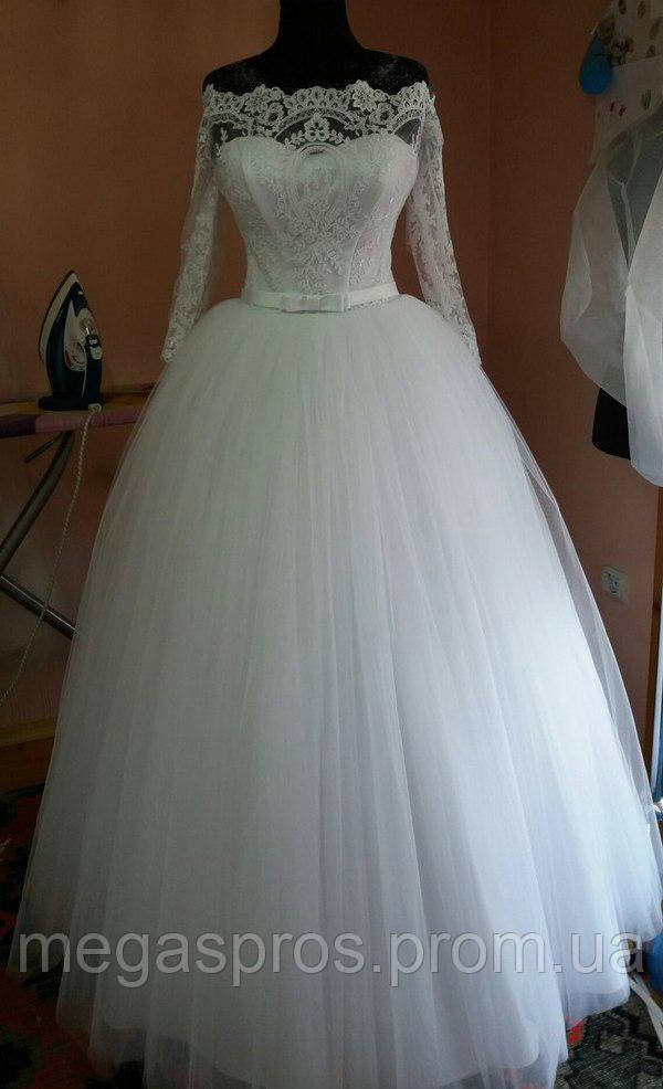 cc921a42dd6 Пышное свадебное платье из фатина. Длинный рукав. - MEGASPROS в Киеве