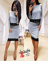 Костюм женский теплый джемпер и юбка вязка с кружевом Kf56