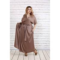 Кофейное благородное платье из шелка ККК1831-0742-3