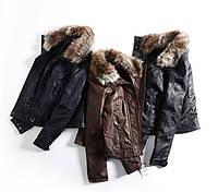 """Куртка кожаная женская """"Bershka"""" (демисезон) S, коричневый"""