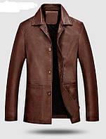 Кожаная куртка классическая с телячьей кожи длинная.