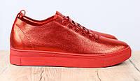 Кеды женские кожаные красные